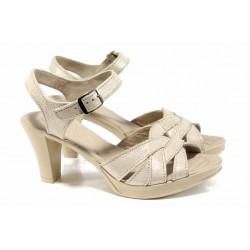 Анатомични български сандали от естествена кожа НЛ 202-6843 бежов сатен | Дамски сандали на ток | MES.BG
