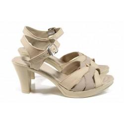 Анатомични български сандали от естествена кожа НЛ 202-6843 бежов кожа | Дамски сандали на ток | MES.BG