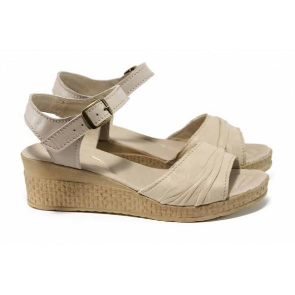 Анатомични български сандали от естествена кожа НЛ 239-18206 бежов | Дамски сандали на платформа | MES.BG