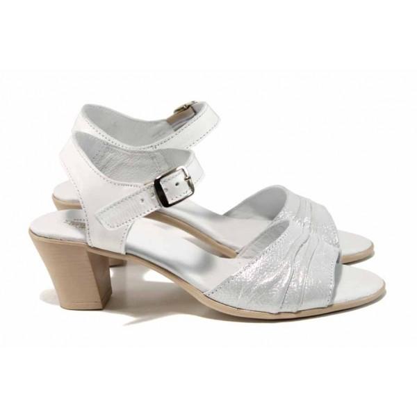 Анатомични български сандали от естествена кожа НЛ 239-1705 бял сатен | Дамски сандали на ток | MES.BG