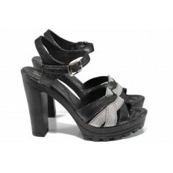 Анатомични български сандали от естествена кожа НЛ 202-15493 черен-бакър | Дамски сандали на ток | MES.BG