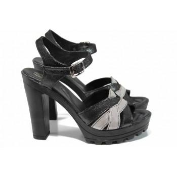 Дамски сандали от естествена кожа НЛ 202-15493 черен-бакър | Дамски сандали на ток | MES.BG