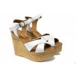 Комфортни дамски сандали от естествена кожа МИ 8208 бял | Дамски сандали на платформа | MES.BG