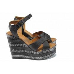 Комфортни дамски сандали от естествена кожа МИ 8208 черен | Дамски сандали на платформа | MES.BG