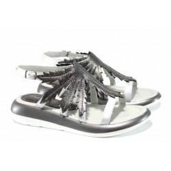 Модерни дамски сандали от естествена кожа МИ 868 сребро | Равни дамски сандали | MES.BG