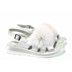 Модерни дамски сандали от естествена кожа МИ 871 сребро | Равни дамски сандали | MES.BG
