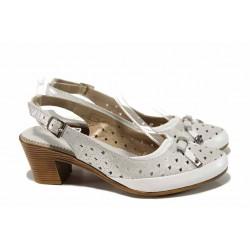 Анатомични дамски обувки от естествена кожа СИ 1721 бял сатен | Дамски обувки на среден ток | MES.BG