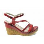 Комфортни дамски сандали от естествена кожа МИ 0120 червен | Дамски сандали на платформа | MES.BG