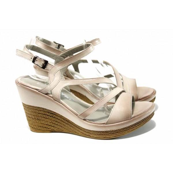 Комфортни дамски сандали от естествена кожа МИ 0120 бежов   Дамски сандали на платформа   MES.BG