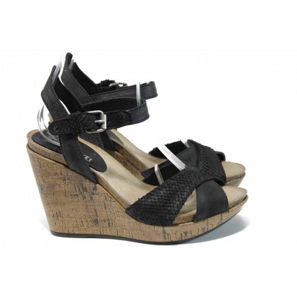 Анатомични български сандали от естествена кожа ИО 1766 черен | Дамски сандали на платформа | MES.BG