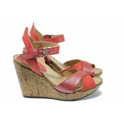 Анатомични български сандали от естествена кожа ИО 1766 червен | Дамски сандали на платформа | MES.BG