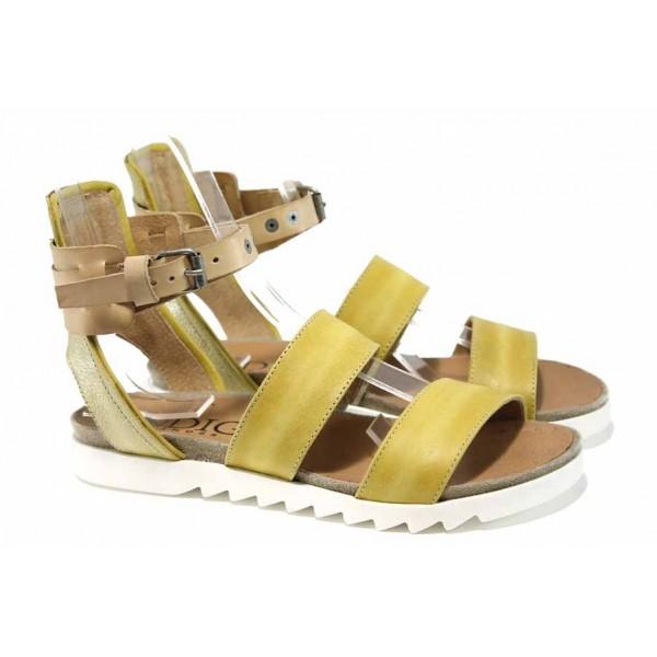 Български ортопедични сандали от естествена кожа ИО 1885 жълт | Равни дамски сандали | MES.BG