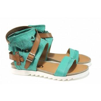 Анатомични български сандали от естествена кожа ИО 1684 зелен | Равни дамски сандали | MES.BG