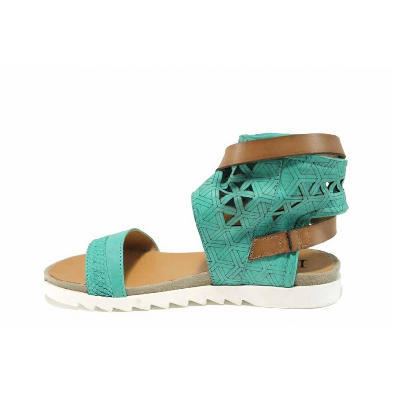Анатомични български сандали от естествена кожа ИО 1684 зелен   Равни дамски сандали   MES.BG