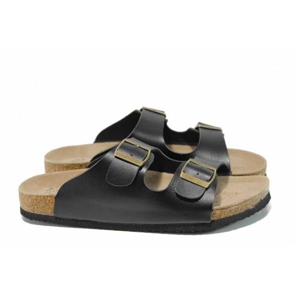 Анатомични дамски чехли АБ 18-02 черен | Дамски равни чехли | MES.BG
