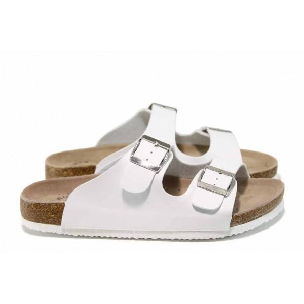 Анатомични дамски чехли АБ 18-02 бял | Дамски равни чехли | MES.BG