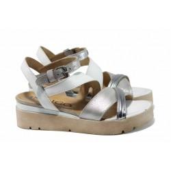 Анатомични български сандали от естествена кожа ИО 1886 бял | Равни дамски сандали | MES.BG