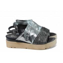 Анатомични български сандали от естествена кожа ИО 1875 сребро | Равни дамски сандали | MES.BG