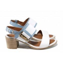 Комфортни дамски сандали от естествена кожа МИ 441 бял-син | Дамски сандали на ток | MES.BG