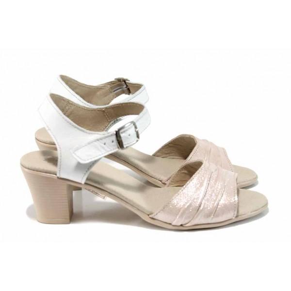 Анатомични български сандали от естествена кожа НЛ 239-1705 розов-бял | Дамски сандали на ток | MES.BG