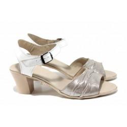 Анатомични български сандали от естествена кожа НЛ 239-1705 бежов-бял | Дамски сандали на ток | MES.BG