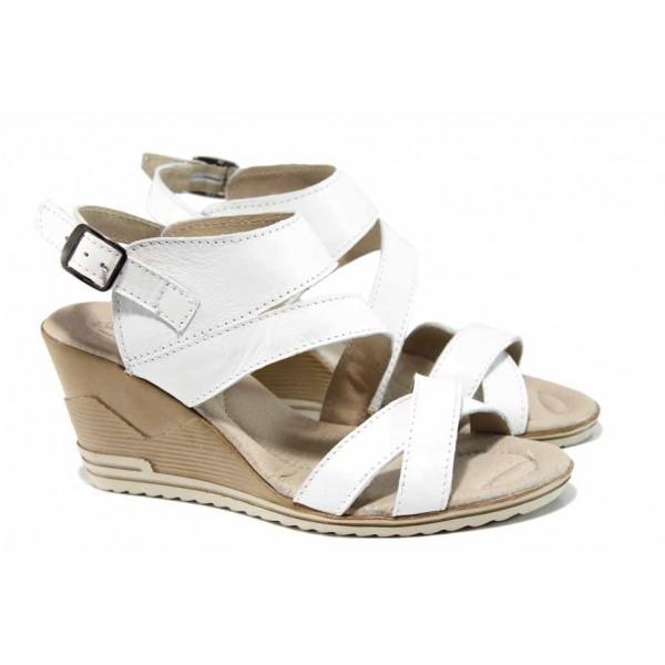 Анатомични български сандали от естествена кожа НЛ 269-15462 бял   Дамски сандали на платформа   MES.BG