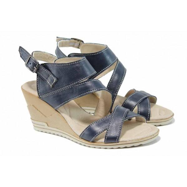 Анатомични български сандали от естествена кожа НЛ 269-15462 син | Дамски сандали на платформа | MES.BG