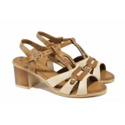 Анатомични дамски сандали от естествена кожа МИ 30-08-06 бежов | Дамски сандали на ток | MES.BG