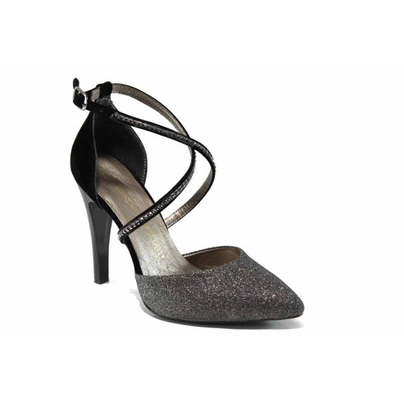 Елегантни дамски обувки МИ 547-1 сребро | Дамски обувки на висок ток | MES.BG