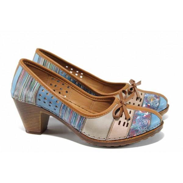 Дамски ортопедични обувки изцяло от естествена кожа КА 1880-586-526 син | Дамски обувки на среден ток | MES.BG