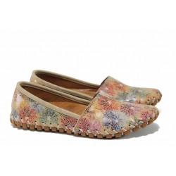Дамски ортопедични еспадрили изцяло от естествена кожа КА 1203-586 бежов цветя | Равни дамски обувки | MES.BG