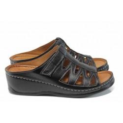 Дамски ортопедични чехли изцяло от естествена кожа Karyoka 176-501 черен | Дамски чехли на платформа | MES.BG