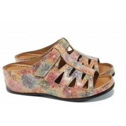 Дамски ортопедични чехли изцяло от естествена кожа КА 176-586 бежов цветя | Дамски чехли на платформа | MES.BG