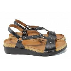 Дамски ортопедични сандали изцяло от естествена кожа КА 1243-501 черен | Равни дамски сандали | MES.BG