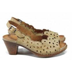 Дамски ортопедични сандали изцяло от естествена кожа КА 1872-506 бежов | Дамски сандали на ток | MES.BG
