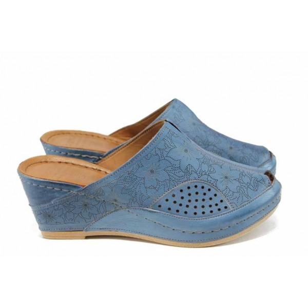 Дамски ортопедични чехли /тип сабо/ от естествена кожа КА 1509-535 син | Дамски чехли на платформа | MES.BG