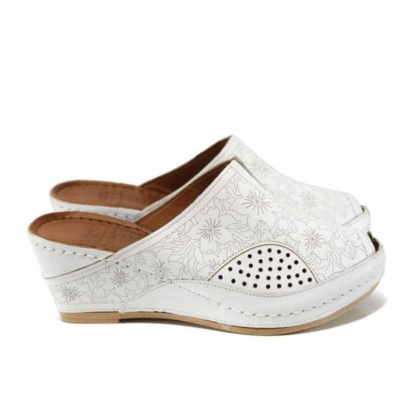Дамски ортопедични чехли /тип сабо/ от естествена кожа КА 1509-2500 бял | Дамски чехли на платформа | MES.BG