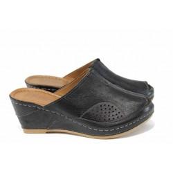 Дамски ортопедични чехли /тип сабо/ от естествена кожа КА 1509-501 черен | Дамски чехли на платформа | MES.BG