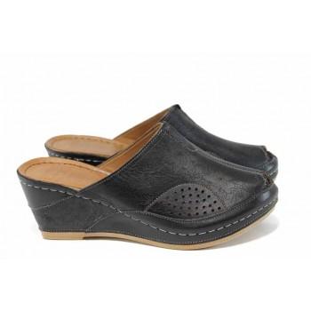 b00407d5466 Дамски ортопедични чехли /тип сабо/ от естествена кожа КА 1509-501 черен