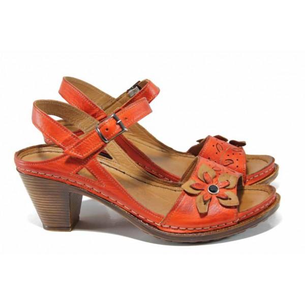 Дамски ортопедични сандали изцяло от естествена кожа КА 1892-507 червен | Дамски сандали на ток | MES.BG