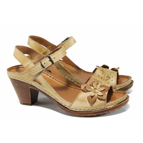 Дамски ортопедични сандали изцяло от естествена кожа КА 1892-506 бежов   Дамски сандали на ток   MES.BG
