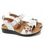 Дамски ортопедични сандали изцяло от естествена кожа КА 1246-2500 бял | Равни дамски сандали | MES.BG