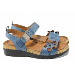 Дамски ортопедични сандали изцяло от естествена кожа КА 1246-535 син | Равни дамски сандали | MES.BG