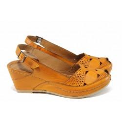 Дамски ортопедични сандали изцяло от естествена кожа КА 1516-516 оранжев | Дамски сандали на платформа | MES.BG
