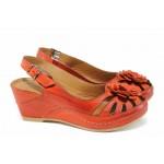 Дамски ортопедични сандали изцяло от естествена кожа КА 1504-507 червен   Дамски сандали на платформа   MES.BG