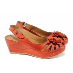 Дамски ортопедични сандали изцяло от естествена кожа КА 1504-507 червен | Дамски сандали на платформа | MES.BG
