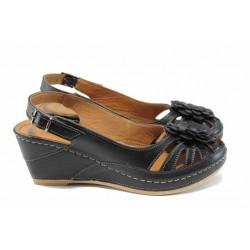 Дамски ортопедични сандали изцяло от естествена кожа КА 1504-501 черен | Дамски сандали на платформа | MES.BG