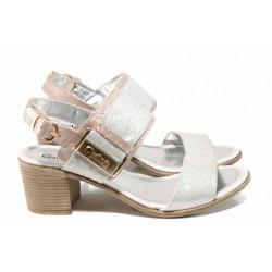 Комфортни дамски сандали от естествена кожа МИ 441 бял-розов | Дамски сандали на ток | MES.BG