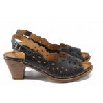 Дамски ортопедични сандали изцяло от естествена кожа КА 1872-501 черен | Дамски сандали на ток | MES.BG |