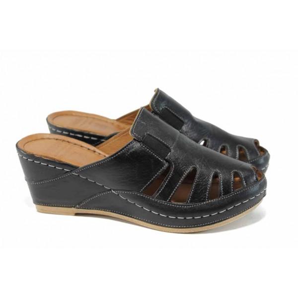 Дамски ортопедични чехли /тип сабо/ от естествена кожа КА 1513-501 черен | Дамски чехли на платформа | MES.BG